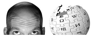 Seth's Blog head and Wikipedia globe