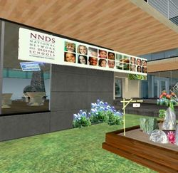 Second Life- Eduisland II- ISTE Collaboratory & Idea Library- Tour- Right of Front Door by rosefirerising